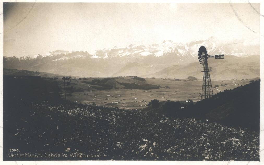 Windturbine für die Wasserversorgung auf dem Gäbris