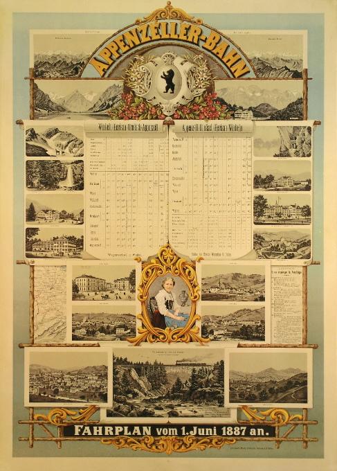 Werbeplakat mit Fahrplan der Appenzeller Bahn