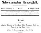 Bericht des schweizerischen Konsuls in Barcelona über das Jahr 1873