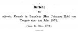Bericht des schweizerischen Konsuls in Barcelona über das Jahr 1872