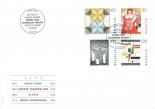 Je ein Werk von Sophie Taeuber und Emma Kunz in einer Schweizer Briefmarkenserie
